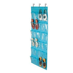 Honey-Can-Do 24-Pocket Non-Woven Over The Door Shoe Organizer, Ocean Blue