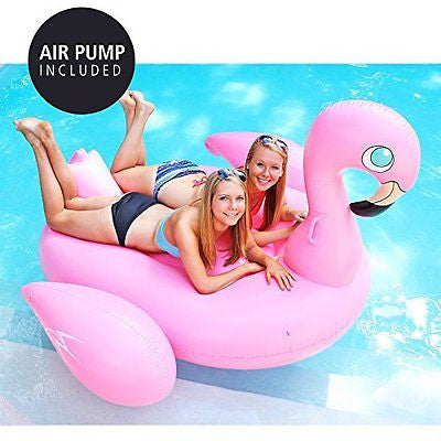 Giant Inflatable Pink Flamingo Pool Float - Includes Pump - Jumbo Pool Toy