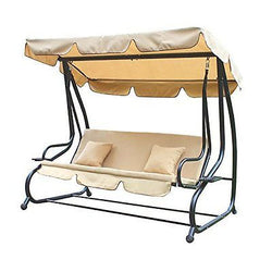 Adeco Canopy Awning Porch Swings Bench, Outdoor Chair for Two, Beige