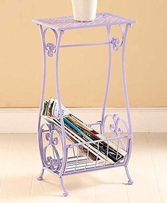 Lilac Metal Bathroom Table Stand Toilet Paper Holder Bar Towel Magazine Rack