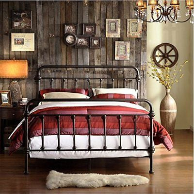 Giselle Antique Dark Bronze Graceful Lines Victorian Iron Metal Bed