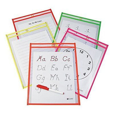 C-Line Reusable Dry Erase Pockets, 9 x 12 Inches, Assorted Neon Colors