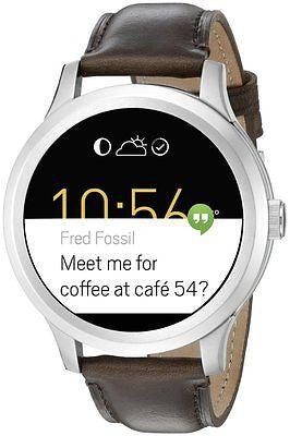 Q Founder Brown Leather Touchscreen Smartwatch