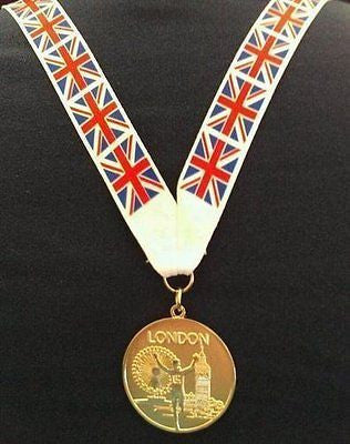 Pack Of 5 Medals With Union Jack Flag - Party Bag Fillers / Gifts