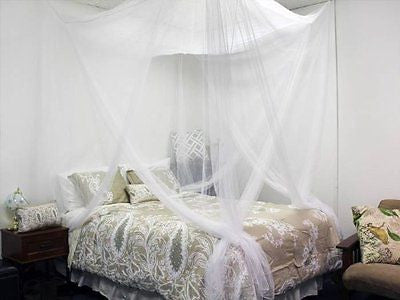 Corner Post Bed White Canopy Mosquito Net Full Queen King Size Netting
