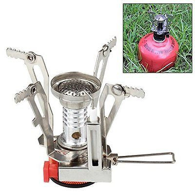 Flexzion Mini Camping Stove Ultralight Backpacking Propane Canister Burner