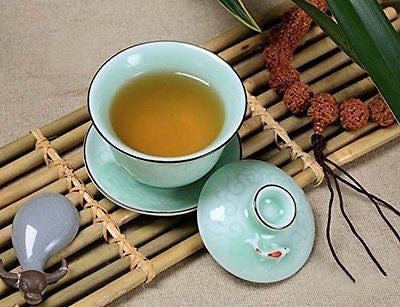 Home tea(TM) Celadon carp teacup/coffee cup/gaiwan(with lid and saucer) 120ml