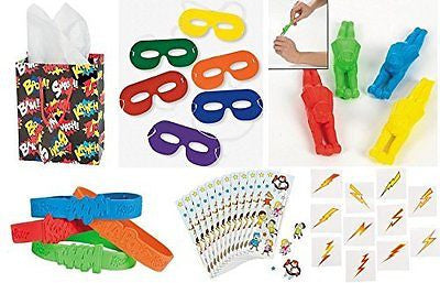 SUPERHERO Party Favors Bundle Kit Pack Enough for 12 Boy's or Girl's Kid's Gift