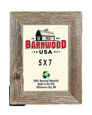 "BarnwoodUSA 5x7 Picture Frame Rustic Reclaimed Wood 1 ?"" - Wide with Easel Back"
