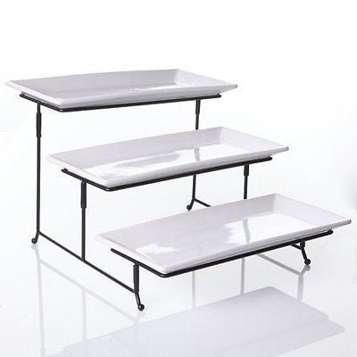 3 Tier Rectangular Serving Platter Three Tiered Cake Tray Stand Food Server