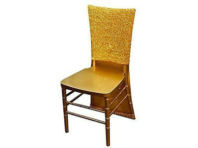 10 Gold Metallic Fitted Spandex Chair Slipcovers