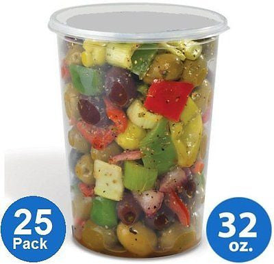 Plastic Food Storage Containers  Foodsavers Deli Cups  Foodsavers (32oz 25pcs)
