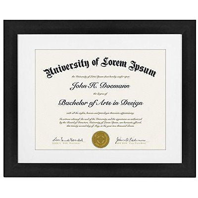 Black Document Frame - Made to Display Certificates sized 8.5x11 Inch