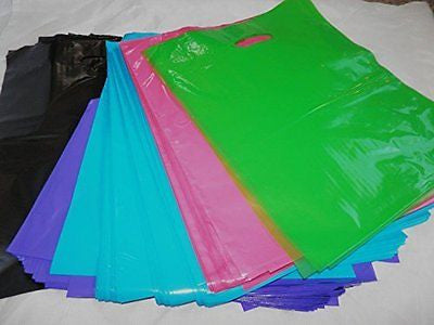 100 -12x15 Assorted Black/Pink/Purple/Blue/Lime Green Plastic Bags W/handles