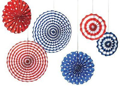 Amscan Fourth of July Party Stars Stripes Hanging Fan Decoration Red/White/Blue