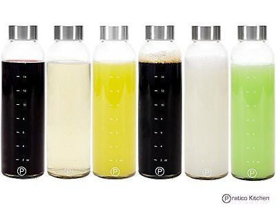 18oz Leak-Proof Glass Bottles Juicing Containers - 6-Pack