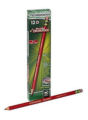 Dixon Ticonderoga Erasable Checking Pencils, Eraser Tipped, Pre-Sharpened