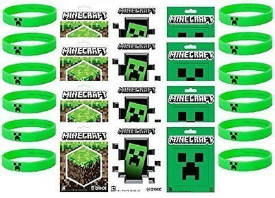 Minecraft Party Bag Fillers - 12 Official Minecraft Creeper Wristbands