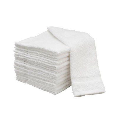 "12 WHITE 13"" x 13"" Soft 100% Cotton Terry Facial Salon Washcloths Face Towels"