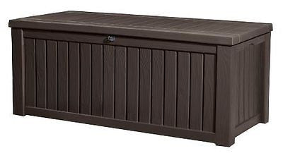 Keter Rockwood Plastic Deck Storage Container Box Patio Garden Furniture
