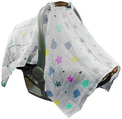 Mum n Me Baby Car Seat Cover Organic Cotton Muslin Suitable for Boys and Girls