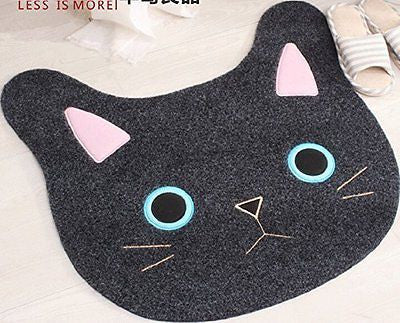 Sytian? New & Cute Cat Face Embroidery Cat Shaped Shaggy Area Rug Nonslip