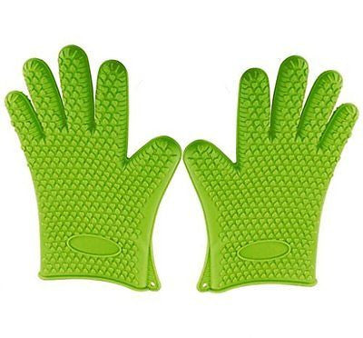 Green Heat Resistant Silicone Gloves - Great for Use In Kitchen Handling All Hi