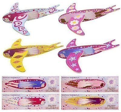 18 x Children Kids Pretty Girls Pink Flying Fairy Gliders Planes Party Bag