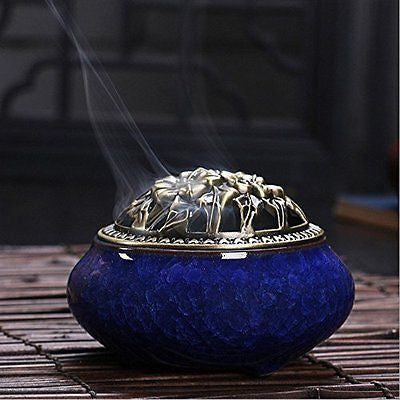 Longove? Ceramic Incense Burner Incense Holder Censer (Dark Blue)