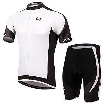 Baleaf Men's Short Sleeve Cycling Jersey 3D Padded Short Set White Dimon Style