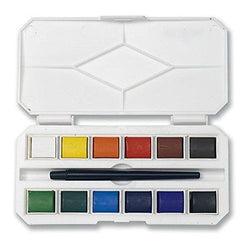 Jerry Q Art 12 Assorted Water Colors Travel Pocket Set- Free Paint Brush-Easy