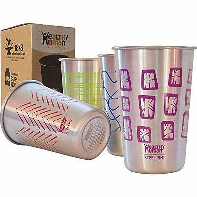 Healthy Human Stainless Steel Cups - Retro Color 16oz (4 Pack) Ideal Beer Pints