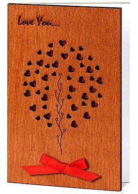 Handmade Sustainable Real Wood Card Love Family Tree Unique