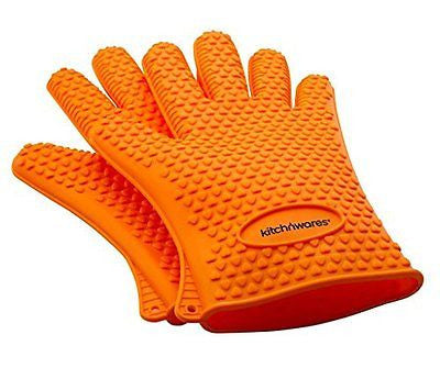 Orange Heat Resistant Silicone Gloves - Great for Use In Kitchen Handling