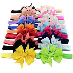 20 Pack Headband Headwear Stretchy Headband Grosgrain Ribbon Hair Bows