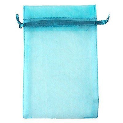 "Aqua Blue 4x6"" 10x15cm Drawstring Organza Pouch Strong Wedding Favor Gift Candy"