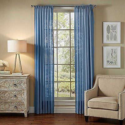 "2pc Sheer Window Treatment Panel in 55""x120"" (light blue)"