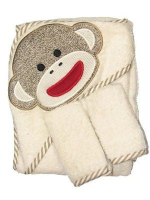 Sock Monkey Hooded Towel and 2 Washcloth Set by Baby Starters - Off-White