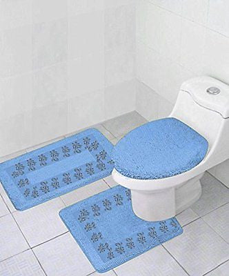 GorgeousHomeLinen **Different Colors** 3-Piece Embroidery Bathroom Rug Set