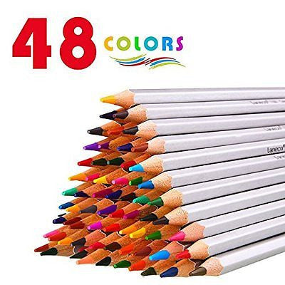 48 Colored Pencils with Pencil extender holder, Laneco Soft Core Art Assorted