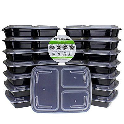 3 Compartment Bento Lunch Boxes with Airtight Lids Food Storage Containers
