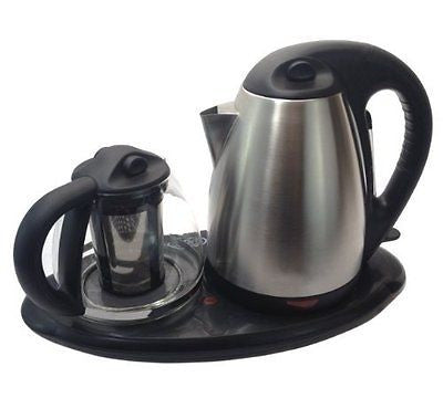 Royal Dual Electric Kettle and Tea Maker Set Stainless Steel & Glass