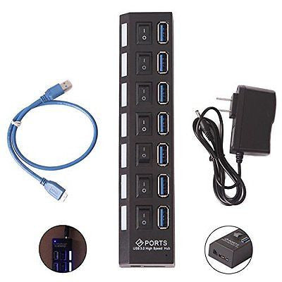 7-Port SuperSpeed USB3.0 Hub On/Off Switches USB Data Cable 5V 2A Power Adapter