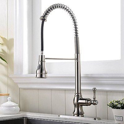 VCCUCINE Stainless Steel Brushed Nickel Single Handle Sprayer Kitchen Faucet