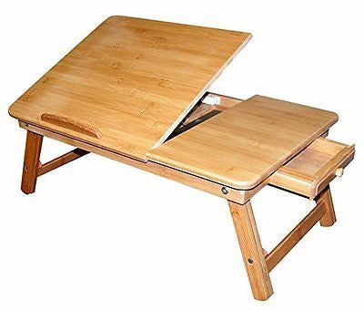Bamboo Multi-Position Adjustable Laptop Tray With Drawer (22 Inches)
