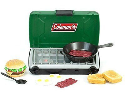 Green Coleman? 18 Inch Doll Camping Stove & Food Set with Frying Pan Perfect