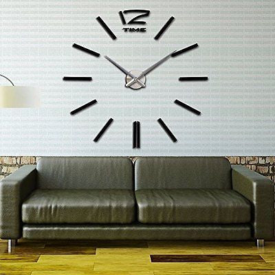 VIPECHO DIY Modern Wall Clock Large Watch Decor Stickers Mirror Effect Acrylic