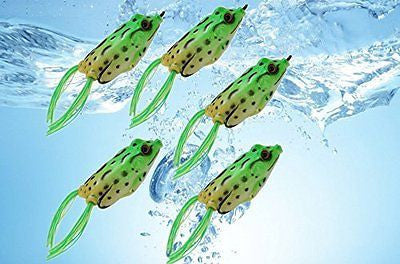 Lot 5 X Frog Topwater Fishing Lure Crankbait Hooks Bass Bait Tackle 5.5Cm Usa