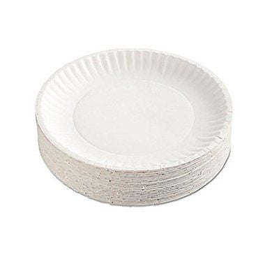 "AJM Packaging PP9GRAWH 9"" White Paper Plates Green Label (12 Packs of 100)"