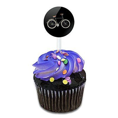 Fixed Gear Bicycle Cake Cupcake Toppers Picks Set